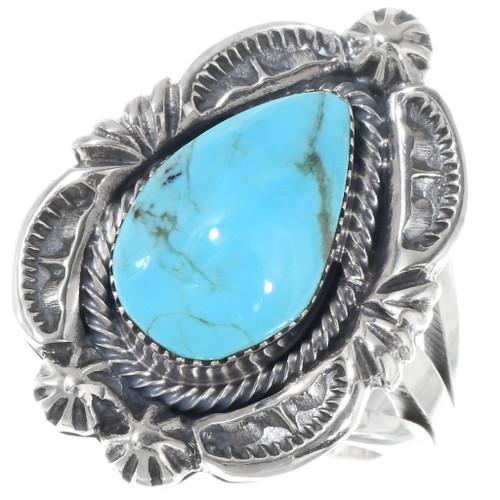 Kingman Turquoise Teardrop Sterling Silver Ring 39564