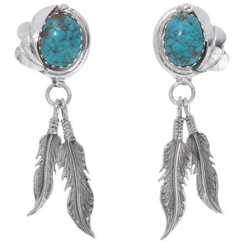 Silver Feather Turquoise Dangle Earrings 39569