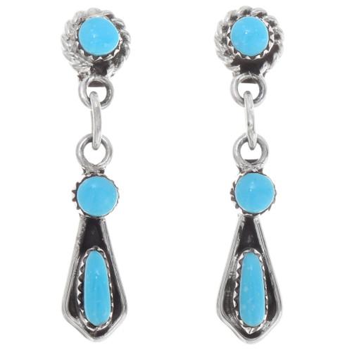 Zuni Turquoise Silver Dangle Earrings 39575