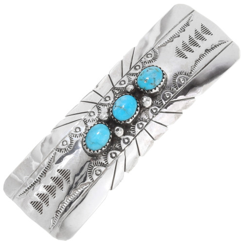 Navajo Turquoise Sterling Silver Hair Barrette 39580