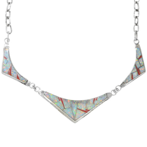 Fire Opal Sterling Silver Link Necklace 39588