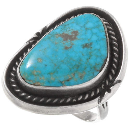 Old Pawn Turquoise Silver Ladies Ring 39658