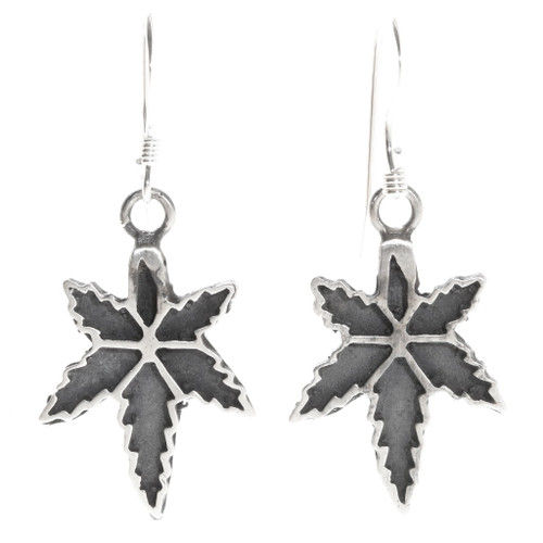 Navajo Sterling Silver Marijuana Dangle Earrings 39733