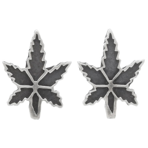Sterling Silver Marijuana Leaf Earrings 39734