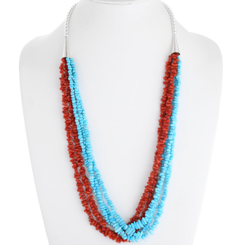 Navajo Turquoise Coral Bead Necklace 39754