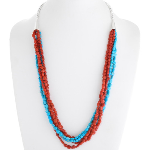 Turquoise Coral Beaded Navajo Necklace 39757