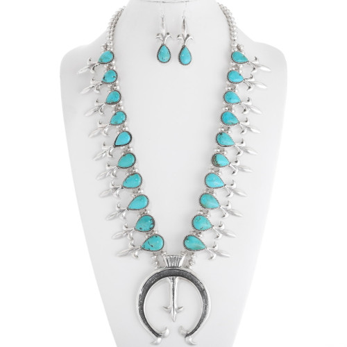Navajo Turquoise Squash Blossom Necklace 39758