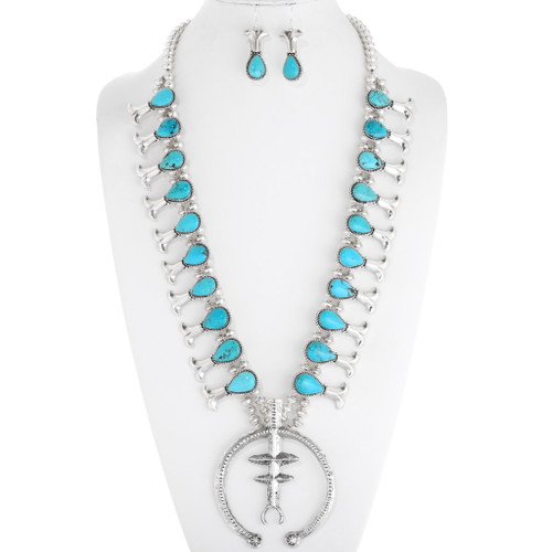 Turquoise Silver Squash Blossom Necklace Set 39759