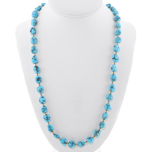 Natural Turquoise Gold Bead Necklace 39761