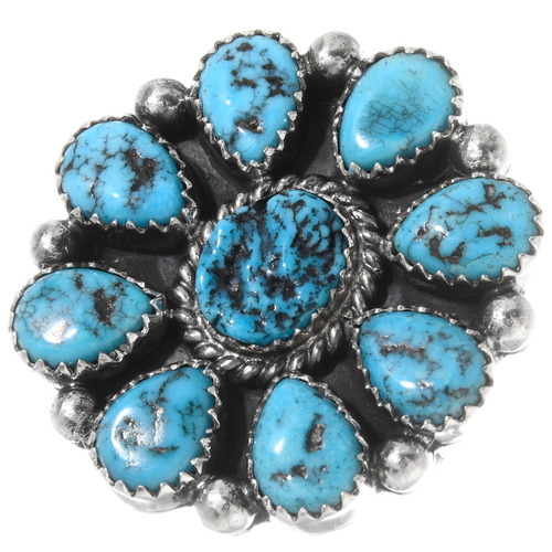 Navajo Kingman Turquoise Cluster Ring 39810