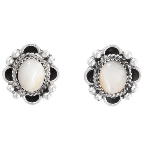 Mother of Pearl Silver Navajo Earrings 39816