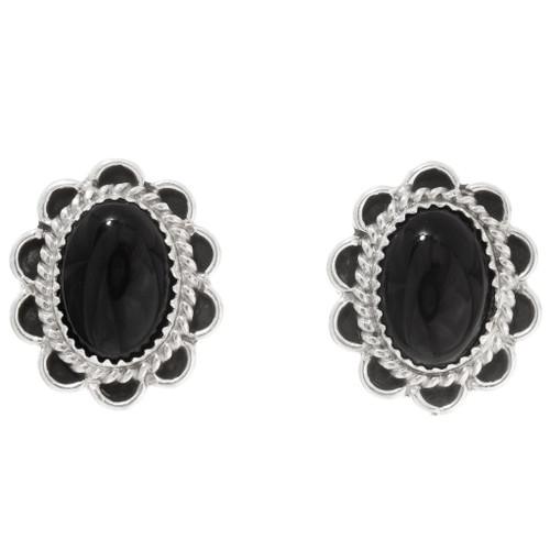 Black Onyx Sterling Silver Earrings 39822