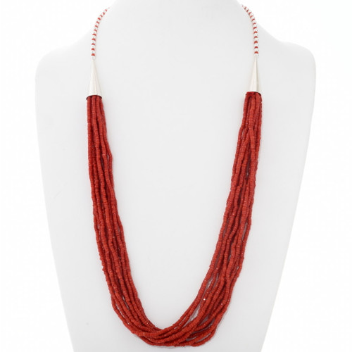 Native American Coral Heishi Necklace 39844