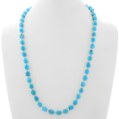 Natural Turquoise Silver Necklace 39865