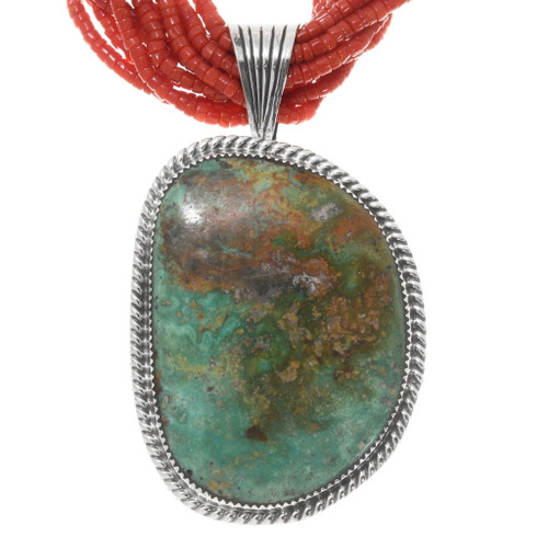 Turquoise Silver Navajo Pendant Coral Necklace 39884