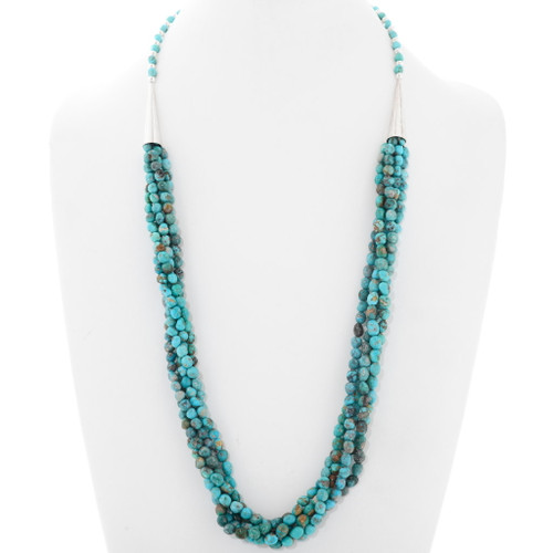 Natural Turquoise Five Strand Bead Necklace 39896