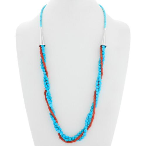 Natural Turquoise Coral Three Strand Navajo Necklace 39916