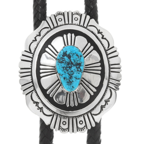 Natural Turquoise Navajo Sterling Silver Bolo Tie 39935