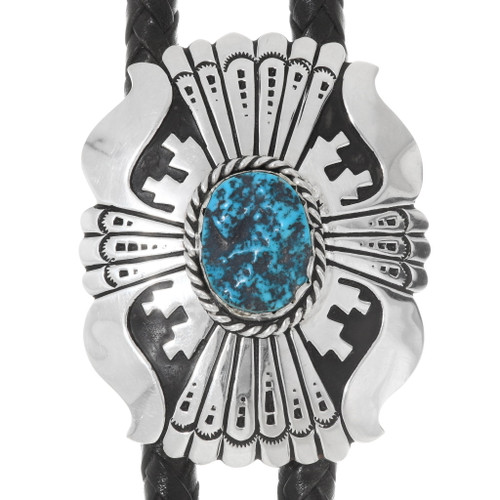 Navajo Turquoise Overlaid Sterling Bolo Tie 39936