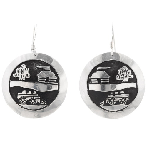 Navajo Silver Storyteller Sterling Silver Earrings 39944