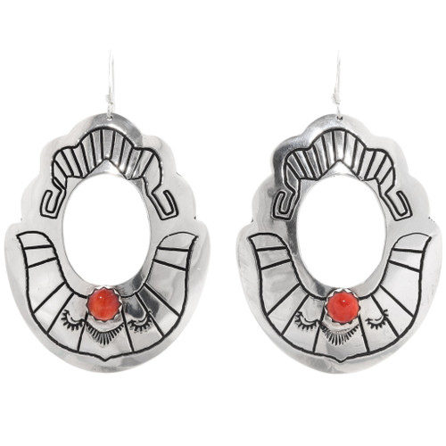 Silver Spiny Oyster Navajo Earrings 39955
