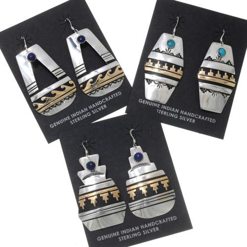 Gemstone Gold Silver Dangle Earrings 39958