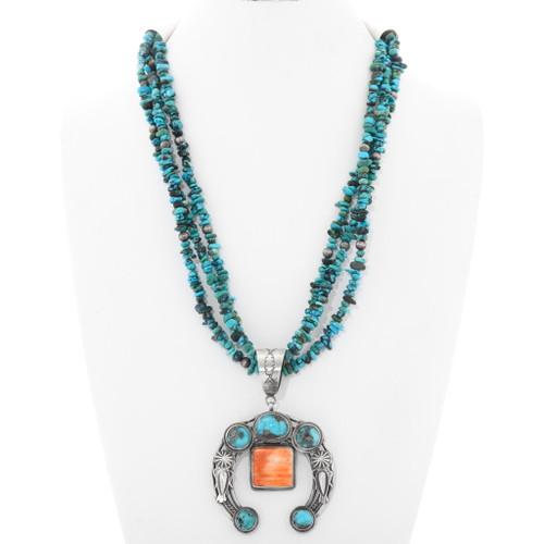 Navajo Turquoise Silver Naja Beaded Necklace 39960