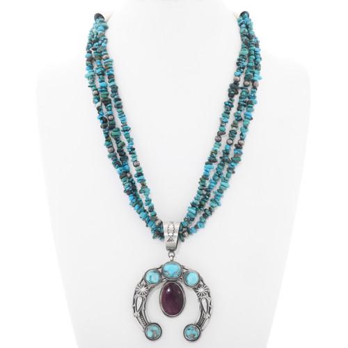 Navajo Turquoise Shell Naja Three Strand Beaded Necklace 39961