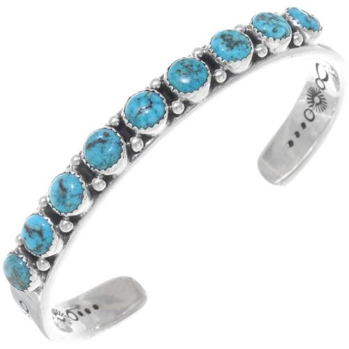 Navajo Turquoise Silver Mens Bracelet 39962