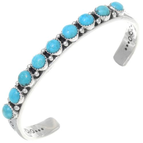 Navajo Turquoise Silver Mens Bracelet 39964