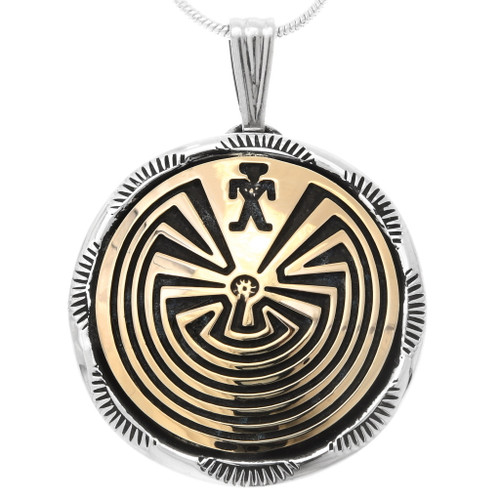 Sterling Silver Gold Man in the Maze Pendant 39965