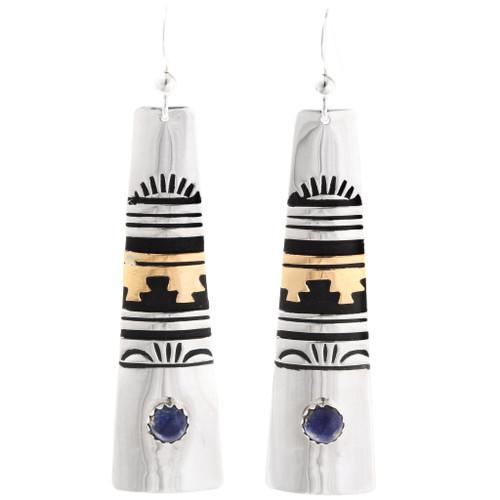 Native American Lapis Gold Silver Dangle Earrings 39975