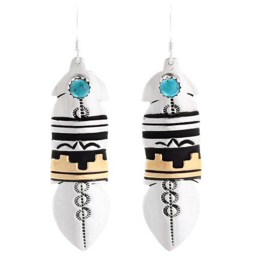 Navajo Turquoise Gold Feather Earrings 39978