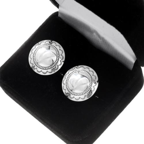 Sterling Silver Concho Native American Cuff Links 39991