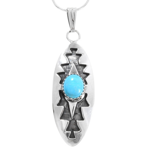 Sterling Silver Turquoise Storm Pattern Pendant 40004