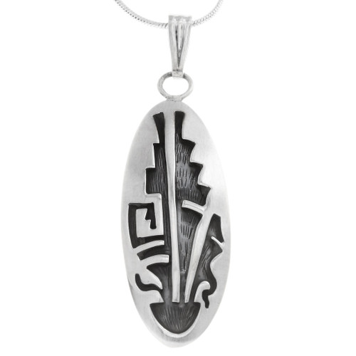 Native American Geometric Design Sterling Silver Pendant 40009