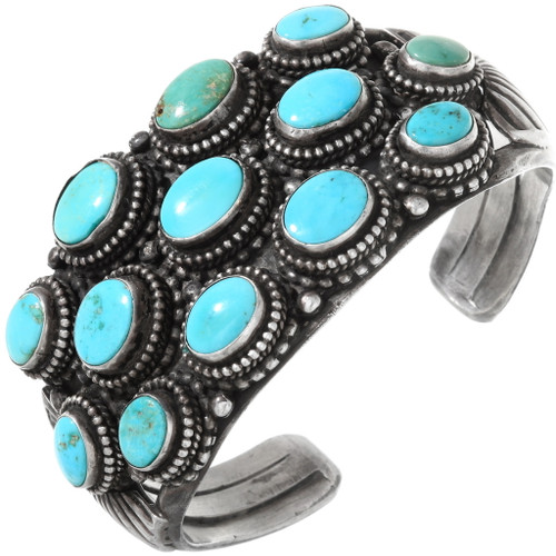 Old Pawn Sterling Silver Turquoise Cuff Bracelet 40029