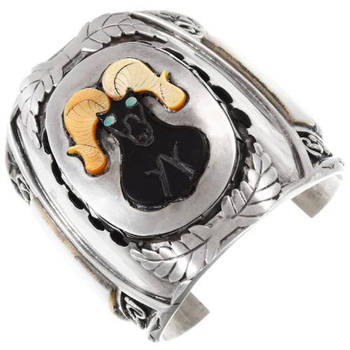 Vintage Zuni Inlaid Ram Sterling Cuff Bracelet 40053