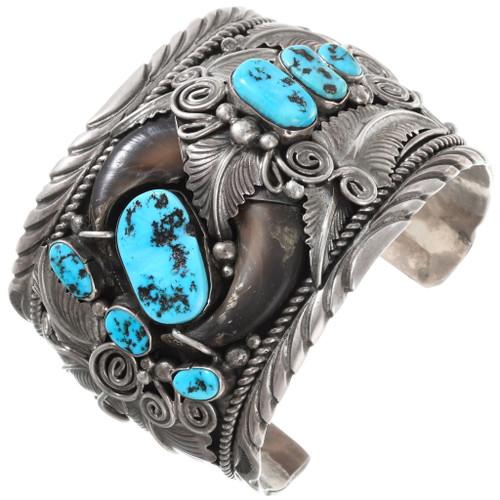 Sleeping Beauty Turquoise Native American Bear Claw Bracelet 40055