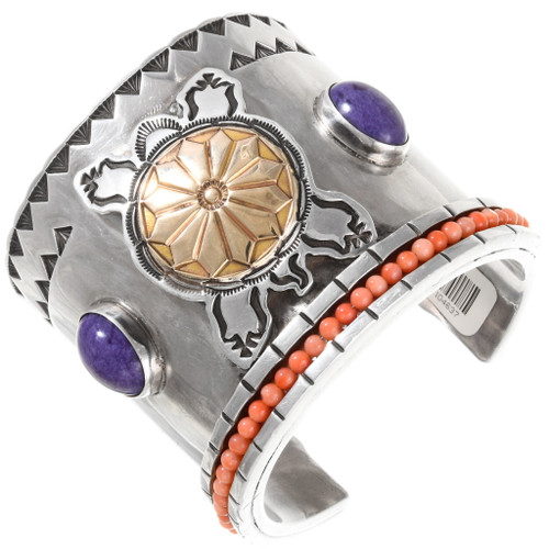 Massive Silver Gold Amethyst Coral Cuff Bracelet 40064