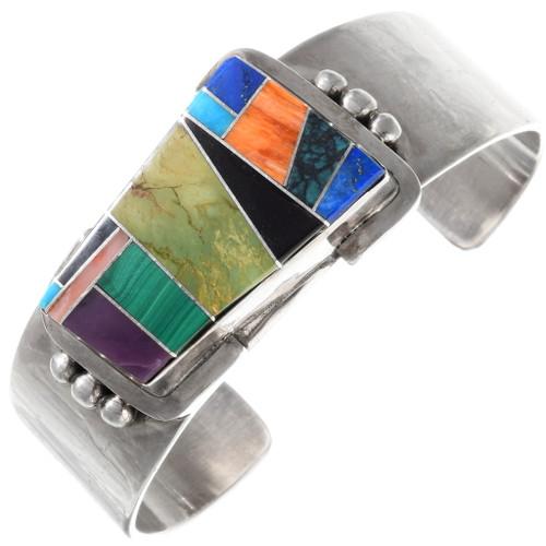Vintage Inlaid Multi Gemstone Turquoise Bracelet 40073