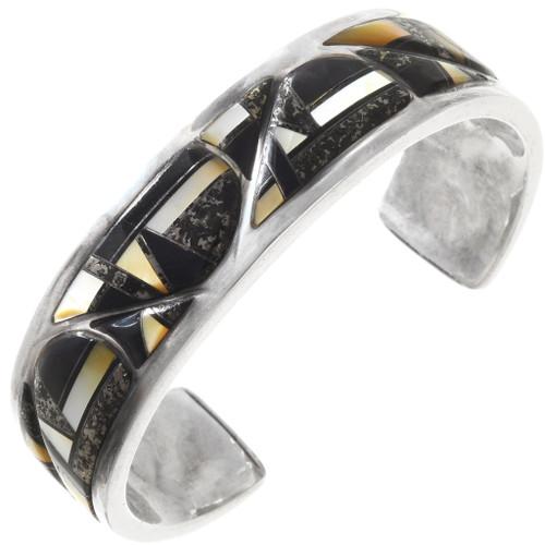 Vintage Inlaid Apache Gold Onyx Cuff Bracelet 40093