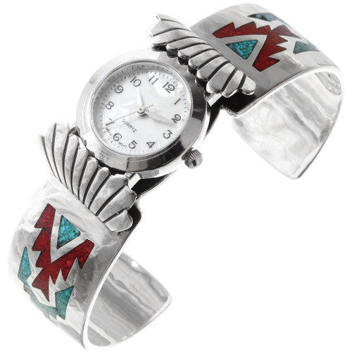 Sterling Silver Turquoise Inlay Watch Cuff 40096