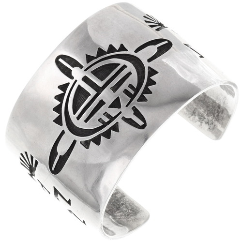 Old Pawn Hopi Overlaid Sterling Silver Cuff Bracelet 40099