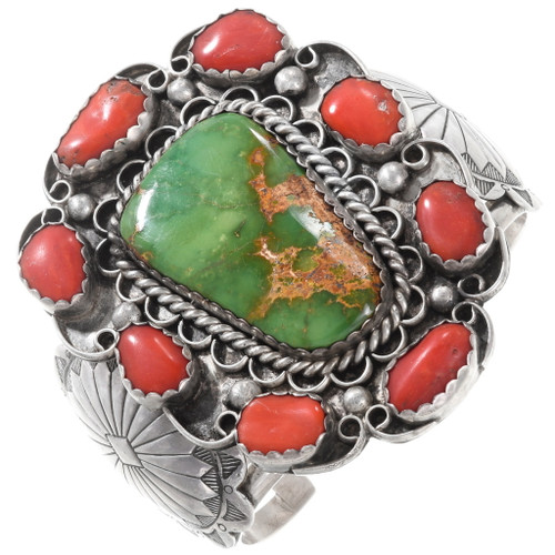 Old Pawn Green Turquoise Coral Silver Cuff Bracelet 40101