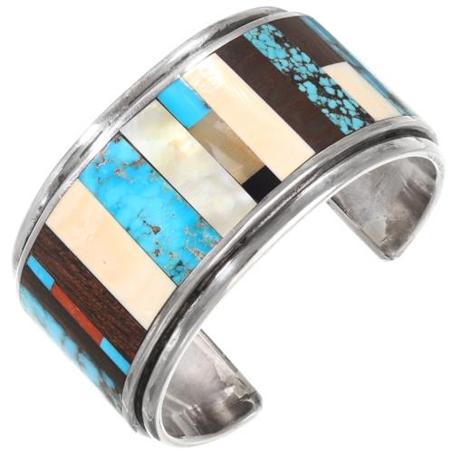 Vintage Native American Turquoise Inlay Bracelet 40102