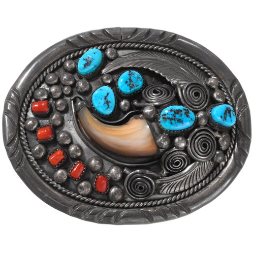 Vintage Turquoise Coral Bear Claw Belt Buckle 40105