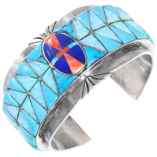 Vintage Inlaid Opal Turquoise Bracelet 40109