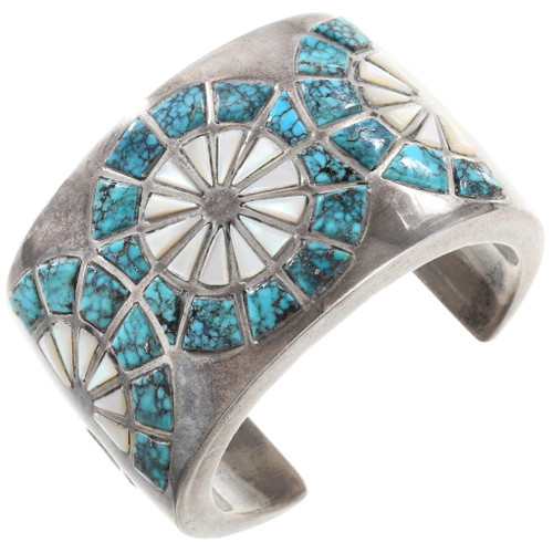 Old Pawn Inlaid Turquoise Cuff Bracelet 40114