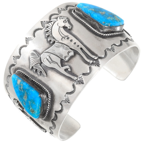 Native American Turquoise Silver Horse Bracelet 40118